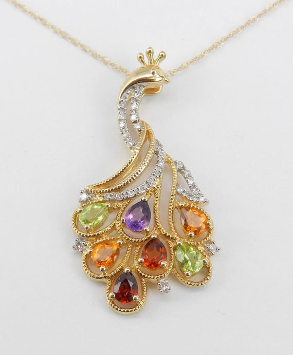 "Multi Color Gemstone and Diamond PEACOCK Pendant Necklace 14K Yellow Gold 18"" Chain Citrine Amethyst Garnet Peridot"
