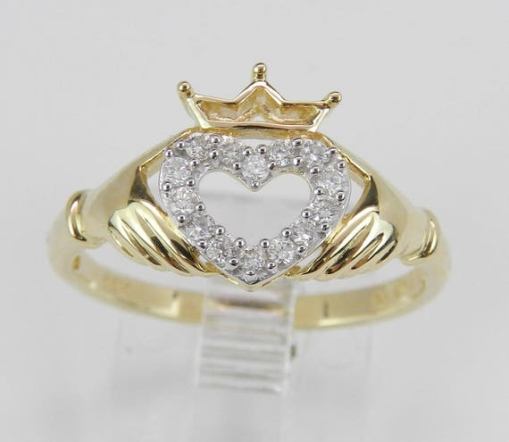 Diamond Heart Crown Irish Claddagh Promise Friendship Ring 14K Yellow Gold Size 7