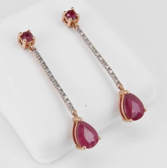 Ruby and Diamond Dangle Drop Earrings 14K Rose Gold Red Wedding Earrings July Birthstone