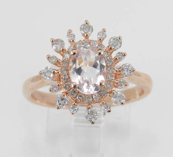 Morganite and Diamond Halo Snowflake Engagement Ring Rose Gold Size 7