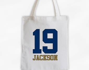 Athlete Name and Number Cotton Canvas Tote Bag - Team Colors Personalized Sports Bag in Navy and Gold (3032)