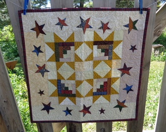 Log Cabin Star, Decorator Quilt, Scrappy Quilt, Country Quilt