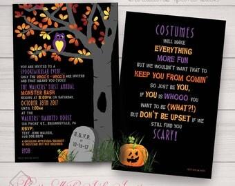 Halloween Party, Owl, Monster Bash, Costume Party, Halloween Invitations, Jack-O-Lantern Black, Purple, Orange. Digital and Printing avail