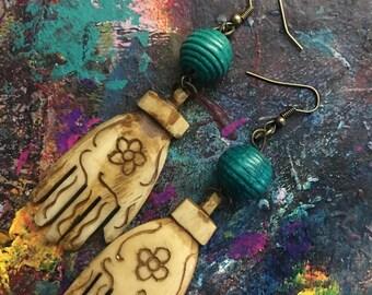 Frida Kahlo inspired Hand Earrings