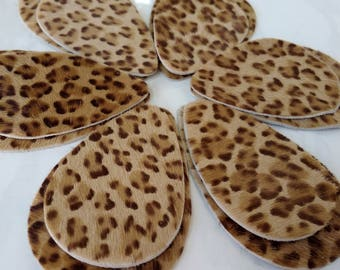 12pcs New  Leather Teardrops, Light Brown  Hair on Hide Leopard Print Genuine Leather