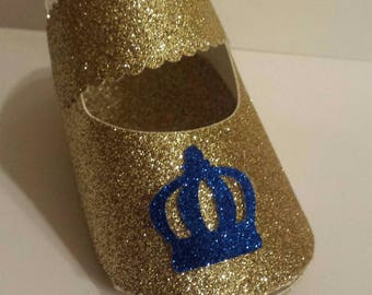 10 Glitter baby shoe baby shower 1st birthday party favor boxes Royal little prince Royal blue Gold Cake topper, centerpiece or favor box