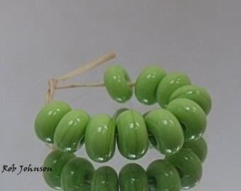 Granny Smith, Artisan Lampwork Glass Beads, SRA, UK