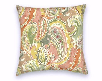 Pink Yellow Green Classic Paisley Decorative Throw Pillow-18x18 or 20x20 or 22x22- Pillow Cover- Accent Pillow
