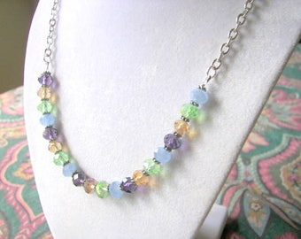 Multi colored Necklace, Colorful Crystal Necklace, Everyday Wear Jewelry, Crystal Choker,  Spring Jewelry, Gift for Her, Work Jewelry
