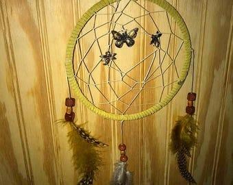 Medium Yellow butterfly/dragonfly dreamcatcher