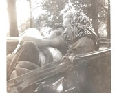 "Vintage Photo ""Cute As A Button"" Smitten Man In Backseat With Pretty Girl Jalopy Convertible Found Vernacular Photo"