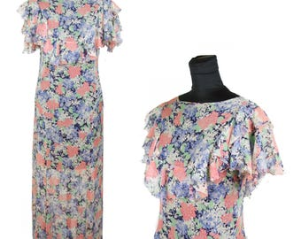 1930s Dress // Colorful Floral Sheer Ruffled Full Length Gown