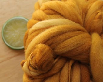 Golden Caramel - Handspun Merino Wool Yarn Gold Thick and Thin Skein