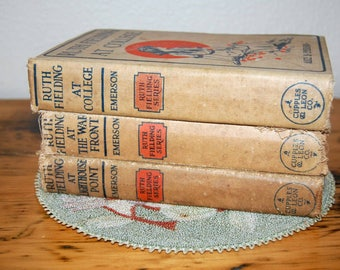 Vintage Ruth Fielding Books by Alice Emerson Vintage Beige Books Set of Hardcover Books Shabby Books from The Eclectic Interior