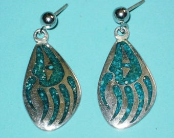 Vintage signed Native American Sterling Silver 925 Turquoise BEAR PAW CLAW Dangle Earrings