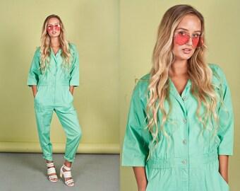 80s Mint Green Cotton Jumpsuit Vintage Minimal Slouchy Jumpsuit