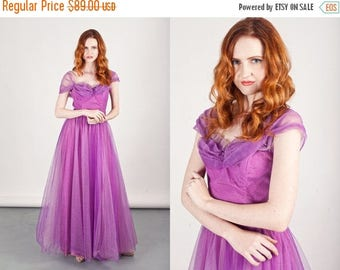 FLASH SALE 50s Purple Tulle Gown Vintage Violet Tulle Strapless Princess Prom Dress