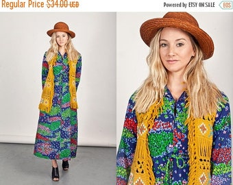 FLASH SALE 70s Mustard Fringe Vest Vintage Sleeveless Southwestern Navajo Crochet Vest