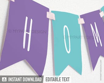 House Warming Party - Banner - Purple and Turquoise - INSTANT DOWNLOAD - Printable PDF with Editable Text