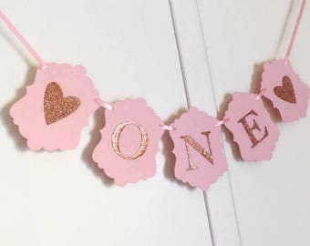 Pink & Rose Gold Glitter First Birthday Banner - ONE Year Old Girl - High Chair Sign, Photo Prop