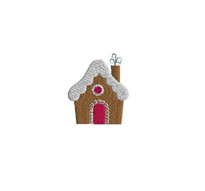 Mini Gingerbread House Machine Embroidery DesignINSTANT