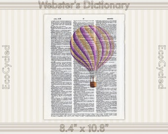 Pink & Yellow Hot Air Balloon Illustration on Vintage Upcycled Dictionary Art Print Book Art Print bookworm gift book lover art gift flying