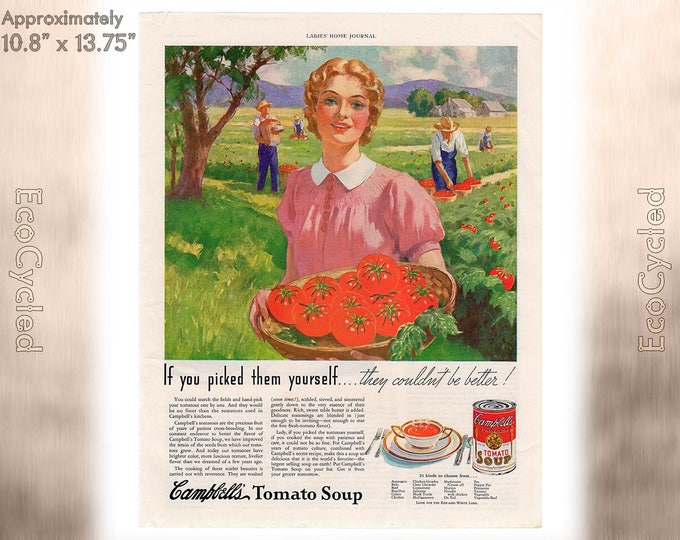 Ladies Home Journal 1935 Antique Campbell's Soup ad, Breakfast ideas Magazine Advertisements Antique Vintage Paper Ephemera art print ads z2