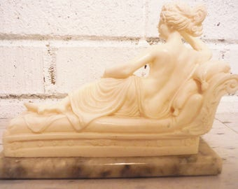 Reclining venus woman sculpture statue cream and marble classical elegant regency decor vintage