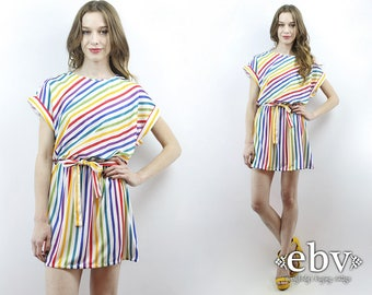 Rainbow Dress Striped Dress Pride Dress Candy Stripe Dress 1970s Dress 70s Dress Summer Dress White Dress 70s Mini Dress Beach Dress S M L