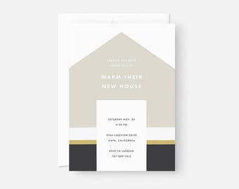 Custom Housewarming Invitation / Minimalist Invite Design / Modern Party Invitation / Muted Yellow and Green / Flat , 5x7, A7