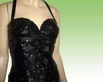 UNWORN 80s Fully Sequined Halter Mini Dress Bust 33 - SILK - Black - Built-in Bra - Burlesque by NITELINE Della Roufagali