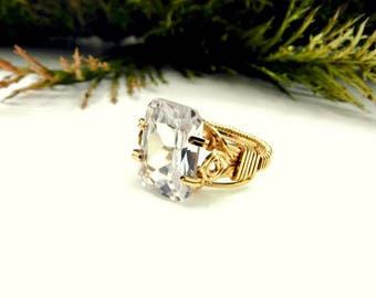 Wire Wrapped Prong Ring/Solitaire Ring/Large Stone Ring