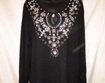 """BIG SUMMER SALE 90s Vintage Victor Costa-Jewelled Knit Pullover-Hipster Gypsy-Tunic Top-Plus Size 3X-54"""" Bust-Party-Resort-Festival-Boho"""
