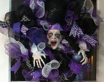 Purple, White & Black Deco Mesh Halloween Witch Door Wreath