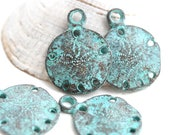 4pc Sand dollar charms, Green patina on copper, metal casting beach charms, nautical beads, sea ocean - F206