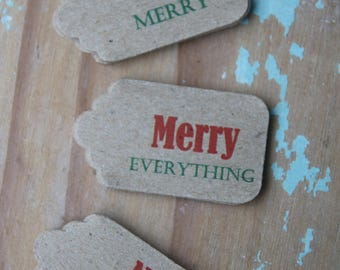 30 Merry Christmas Gift Tags or Merry Everything, No Peeking, Be Merry, Don't open until 25th Dec or a Mix