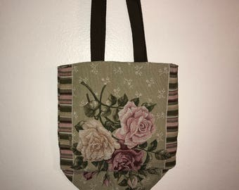 "Roses and Tassel Tapestry Tote Bag 14""'x 16"""