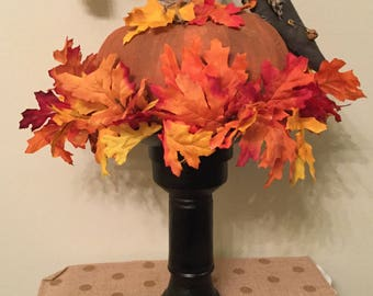 PumpkinCrow Prim on Candle Holder Fall Housewarming Prim Decor Home Decor Country Cottage Chic Upcycled Halloween Holiday Ready to Ship