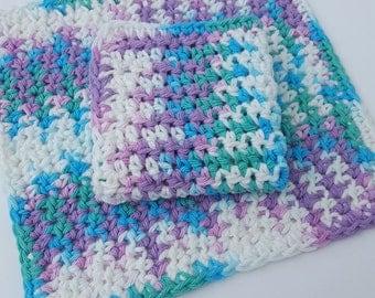 Crochet Washcloth Dishcloth Bathroom Dish Cloth Wash Cloth Spa Cloth Kitchen Set of 2 d