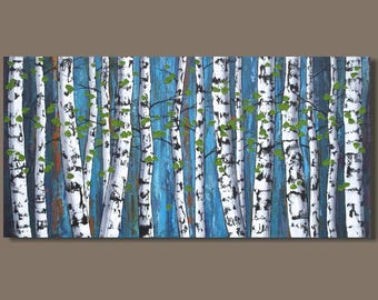 FREE SHIP abstract painting, birch trees painting, panoramic painting, forest painting, landscape painting, turquoise art on canvas, aspens