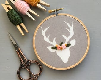 Coral and Mustard Yellow Embroidered Deer, Floral Hand Embroidery, Hoop Art, Woodland Nursery, Little Girls Room, Baby Shower Gift