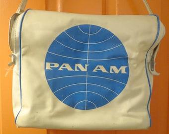 Vintage 1960s Retro Travel Pan Am American Airline Flight Carry On Shoulder Bag Tote #2
