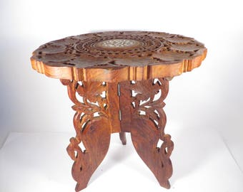 Vintage Carved Wood Plant Stand - Small Wood Table Plant Stand