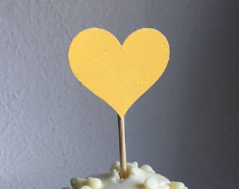 120 Yellow Cupcake Toppers Large & Small Sparkling HEARTS Wedding Cake Decorations