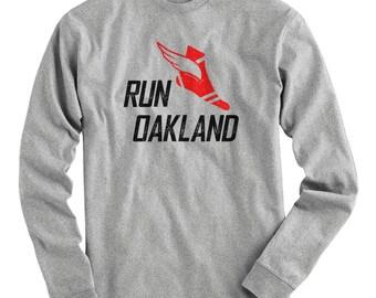 LS Run Oakland V3 Tee - Long Sleeve T-shirt - Men S M L XL 2x 3x 4x - Oakland Running Shirt, Oakland Jogging, Oakland Marathon, Run Oak Tee