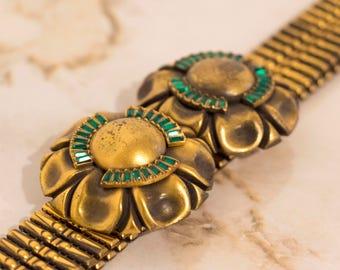 Rare H. Ponerantz Signed Gold and Emerald 1920's Belt