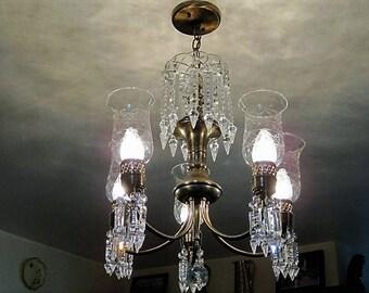 Vtg brass and crystal chandelier