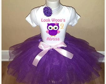 ON SALE Girls Look Who Owl Birthday Personalized Shirt Tutu Headband Set - ANY Age