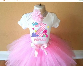 ON SALE Girls Pink Dinosaur Birthday Personalized Shirt Tutu Headband Set - ANY Age