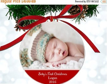 ON SALE Personalized Baby's First Christmas Photo Ornament